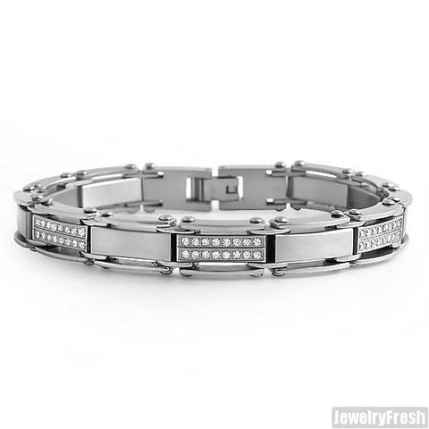 Bike Chain Style CZ Iced Out Mens Bracelet