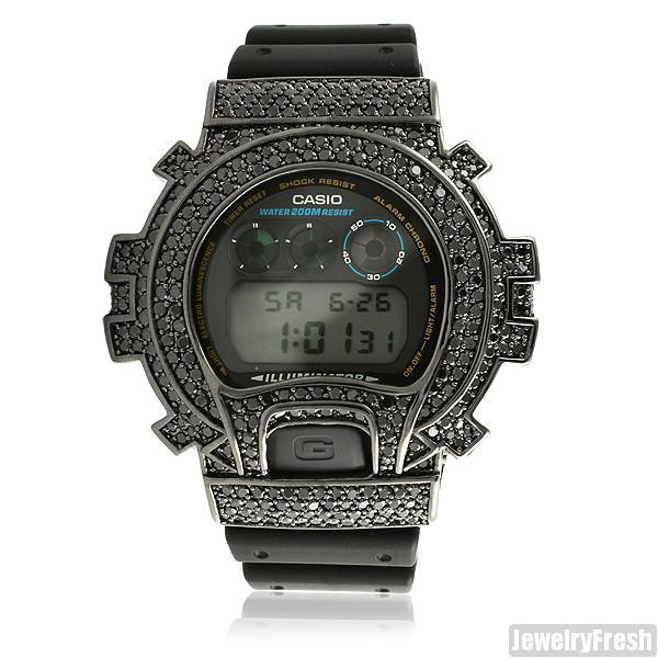 Top Quality Black Simulated Diamond G Shock Watch
