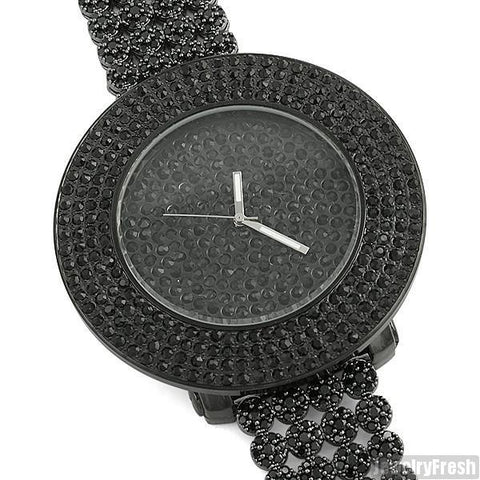 Black Finish Iced Out Watch Custom Cluster Band