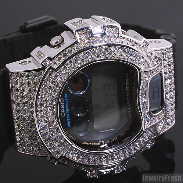 White Gold Finish Simulated Diamond G Shock DW6900