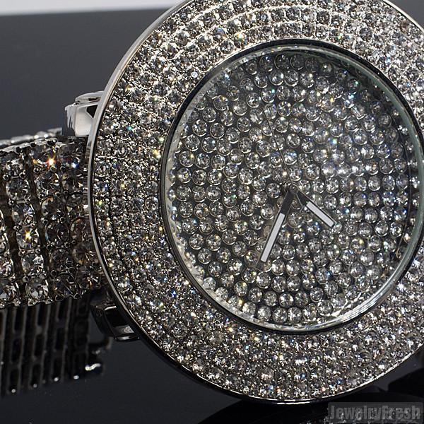 Platinum Tone Fully Iced Out 4 Row Bezel Watch