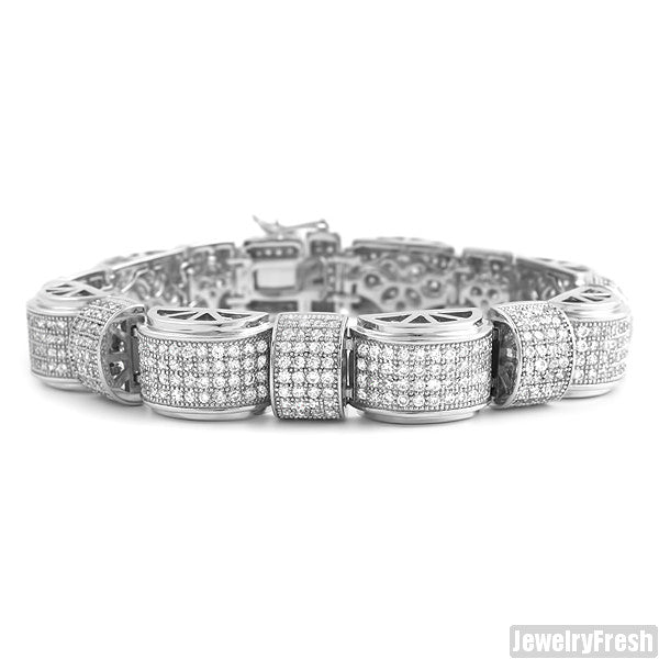 Rhodium Moon Link Simulated Diamond Bracelet