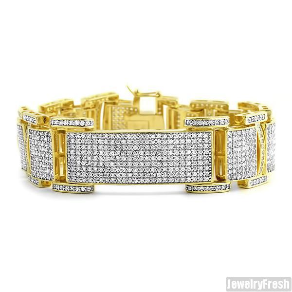 18k Finish Ice Plate CZ Micropave Mens Bracelet