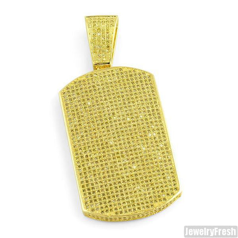 Lemonade Fully Iced Micropave Dogtag Pendant