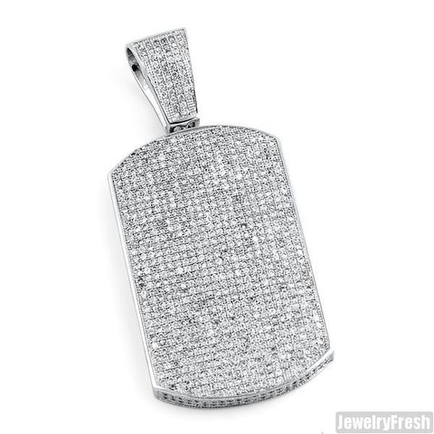 Rhodium Fully Iced Micropave Dogtag Pendant