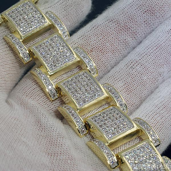 18k Gold Finish Micropave Iced Out King Bracelet