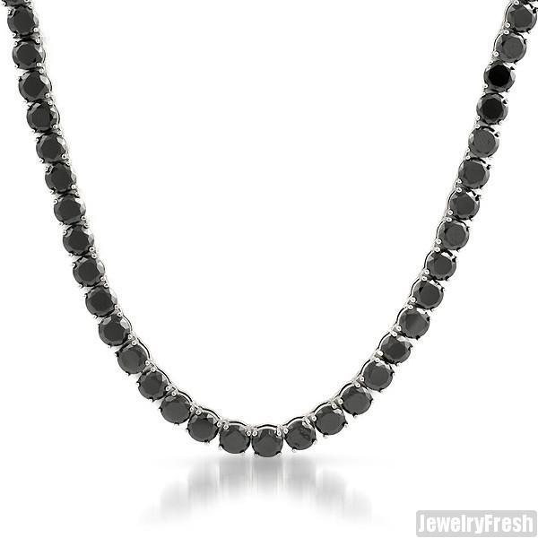 Solid Steel No Fading Black Simulated Diamond Chain