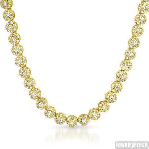18k Gold Finish Simulated Diamond Cluster Chain