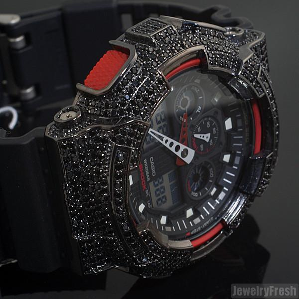 Black and Red Custom CZ Casio G-Shock GA-100