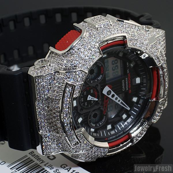 Rhodium Finish Custom CZ Casio G-Shock GA-100