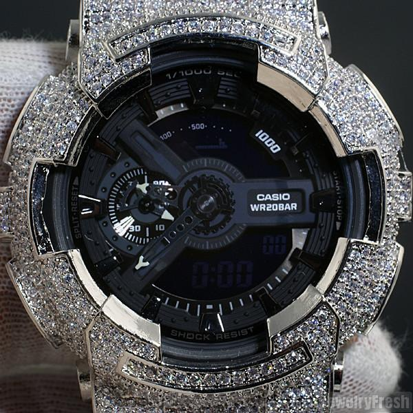 Rhodium Finish Custom CZ Casio G-Shock GA-110