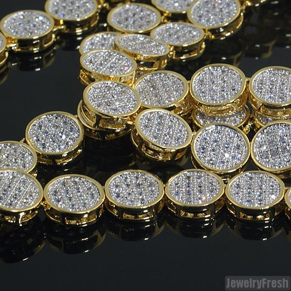 18k Gold Finish Flat Pave Lab Made CZ Chain