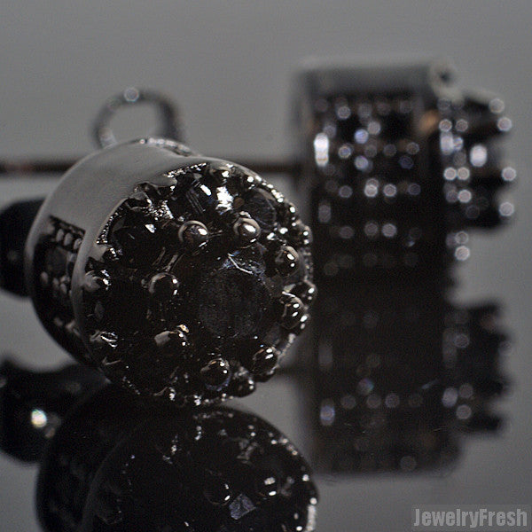 Blacked Out Fancy 3D Cluster VVS Flawless Earrings