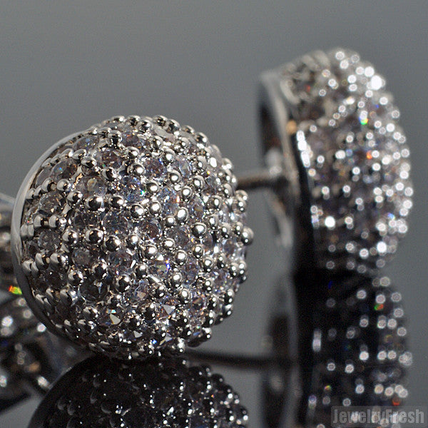 Rhodium Iced Out Flawless CZ 360 Ball Earrings