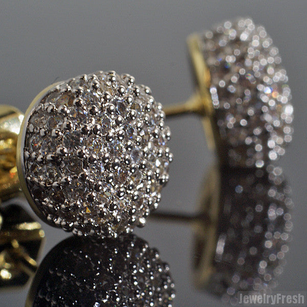Gold Tone Iced Out Flawless CZ 360 Ball Earrings
