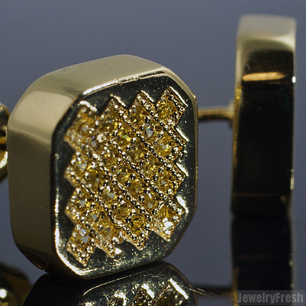 Canary Yellow Hexagon Micro Pave CZ Stud Earrings