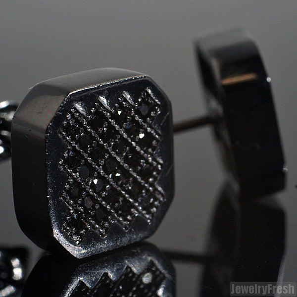 Black Finish Hexagon Micro Pave CZ Stud Earrings