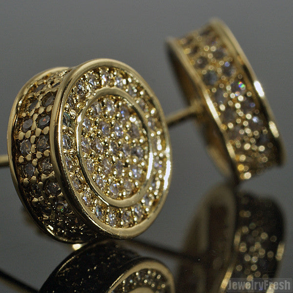 Gold Finish Iced Out 360 Round CZ Earrings