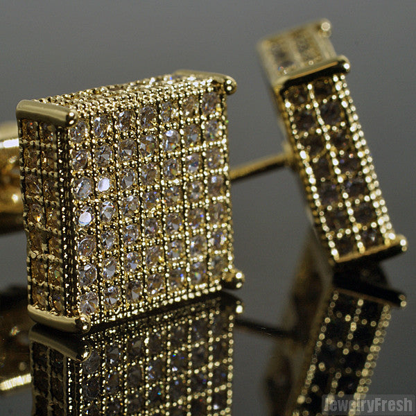 Gold Finish 10mm Simulated Diamond Square Earrings