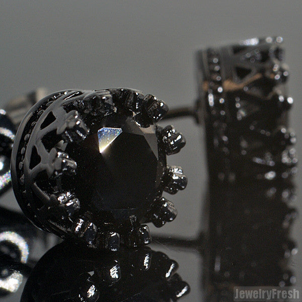 Blacked Out 1.3 Carat 7mm CZ Stud Crown Setting