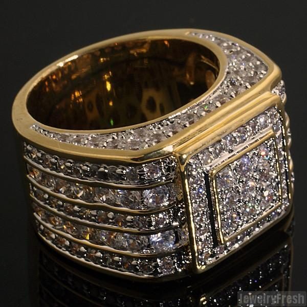 5 Carat CZ Superbowl Ring Gold 925 Silver