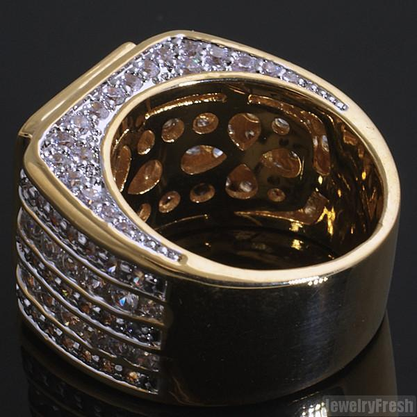 Custom 5 Carat CZ Superbowl Ring Gold Finish