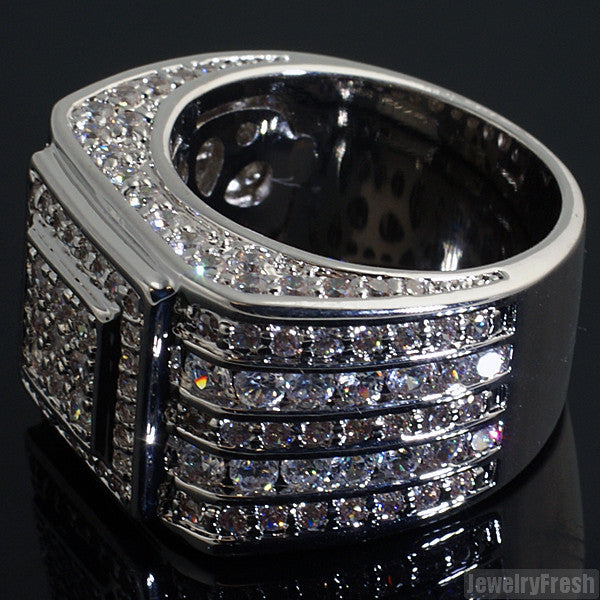 Custom 5 Carat CZ Superbowl Ring Rhodium Finish