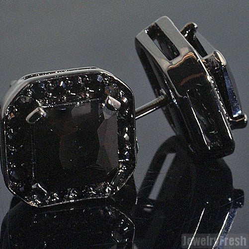 Black Big Stone Princess Cut 3.5 Carat Earrings