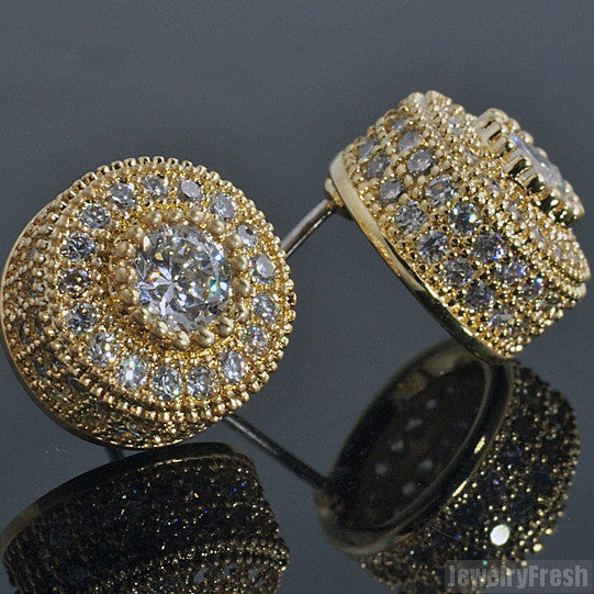 Gold Tone Fancy Cluster Simulated Diamond Studs