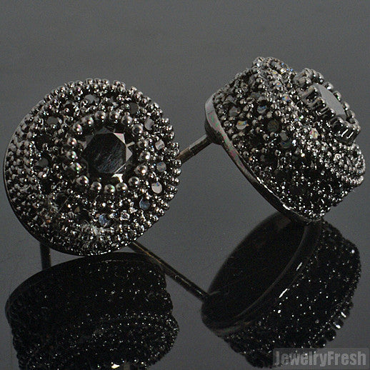 Blacked Out Fancy Cluster Simulated Diamond Studs