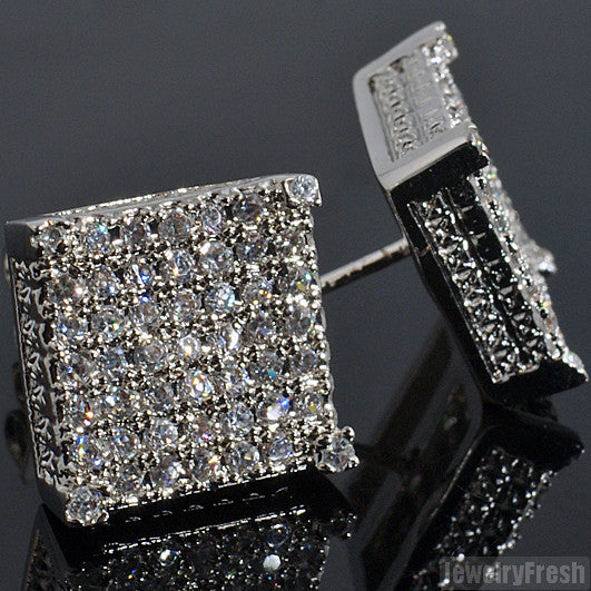 Rhodium Full Iced Cube Simulated Diamond Earrings