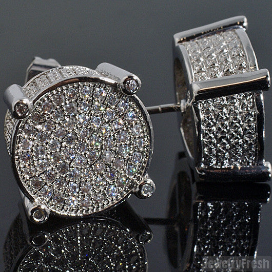 Rhodium Fancy Round Micropave Mens Earrings