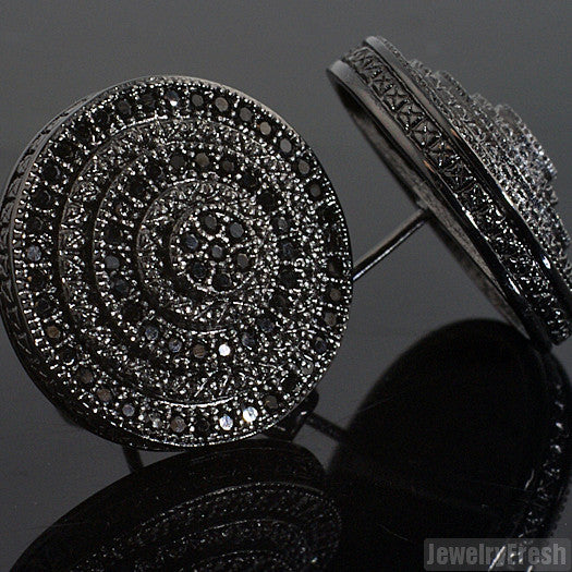 Jumbo Black Bullseye Round CZ Earrings