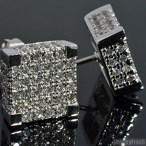 White Gold Finish Large Box Full Iced Earrings