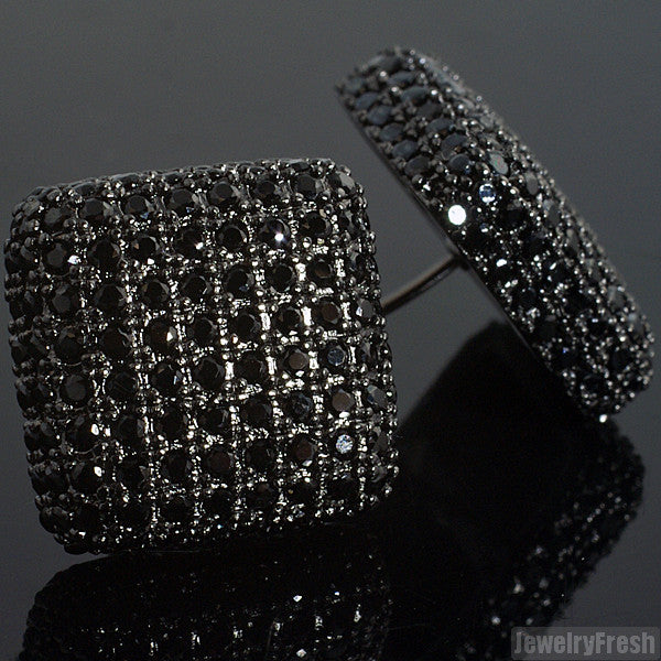 Black Jumbo Full Iced Out 360 Cushion Earrings