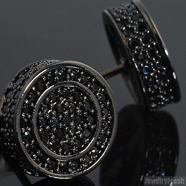 All Black Round 3D Circle Fully Iced Out Earrings