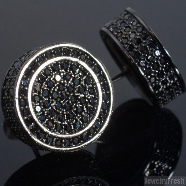 Black Large 3D Round Micropave CZ Earrings