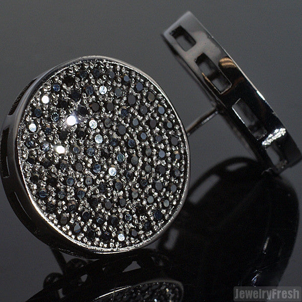 Black Large Round CZ Micropave Iced Out Earrings