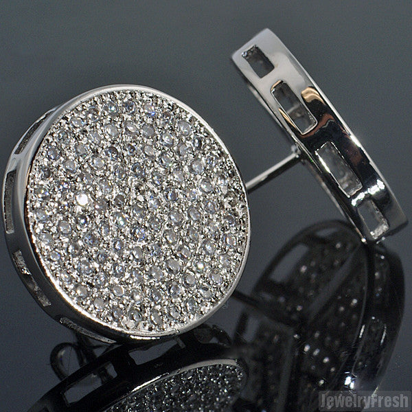 Large Round CZ Micropave Iced Out Earrings
