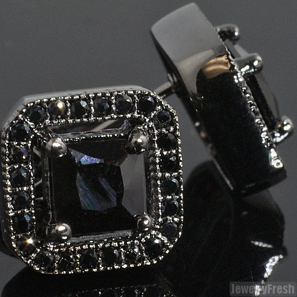 All Black Princess Cut Simulated Diamond Earrings