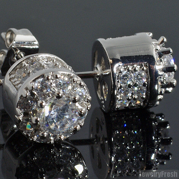 Fancy Cluster White Gold Finish CZ Earrings