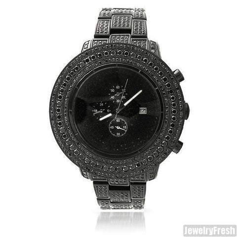 All Black High End Pilot Watch 15 CTW Simulated Diamond
