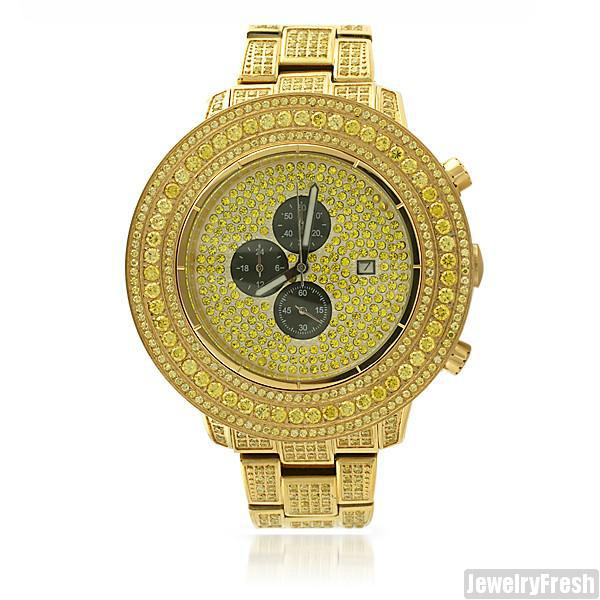 Canary Gold High End Pilot Watch 15 CTW Simulated Diamond
