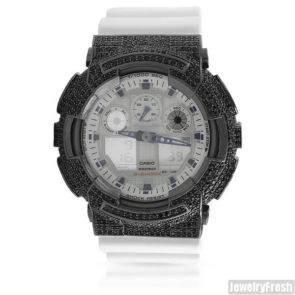 Black and White Custom CZ Casio G-Shock GA-100