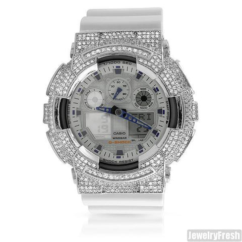 Rhodium and White Custom CZ Casio G-Shock GA-100