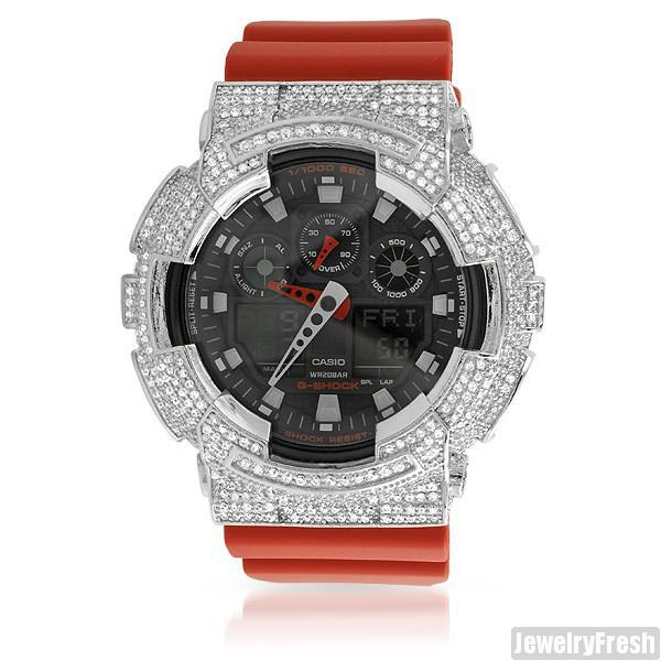 Red Custom Iced Out Bezel Casio G-Shock GA-100