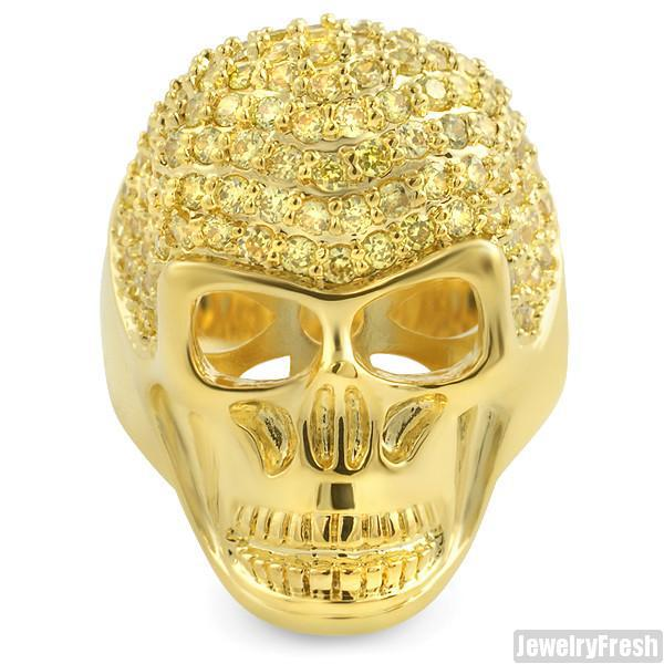 Canary Yellow Gold Finish CZ Mens Iced Out Skull Ring