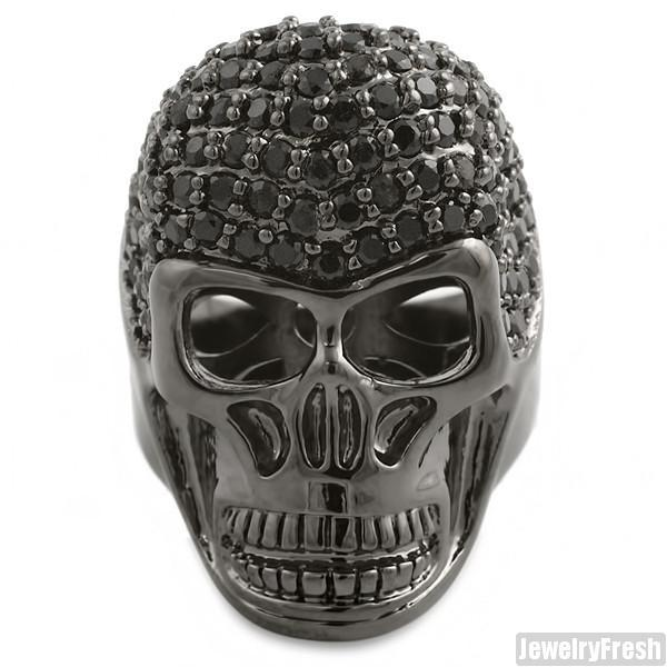 Full Black Stone Stealth CZ Mens Iced Out Skull Ring
