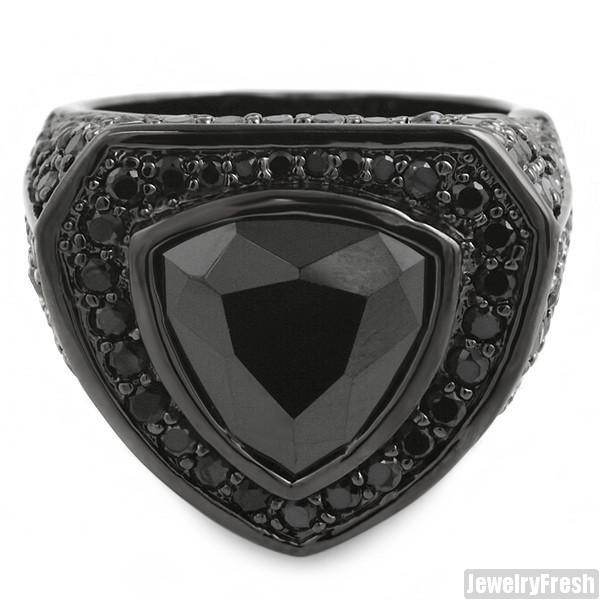 Black Custom 8 Carat Trillion Cut Simulated Diamond Ring
