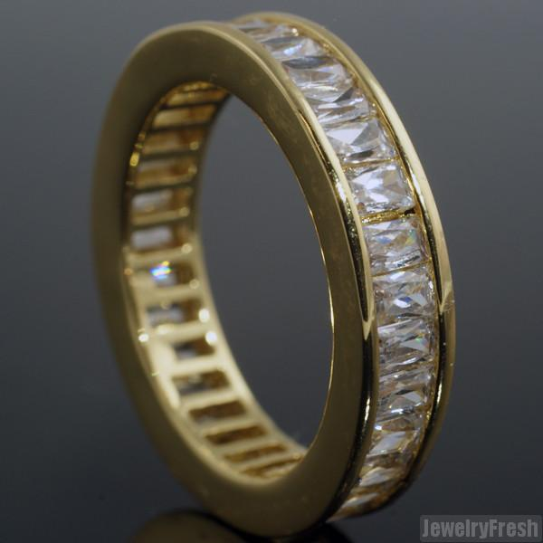 18k Gold Finish Baguette Stone CZ Eternity Ring Band